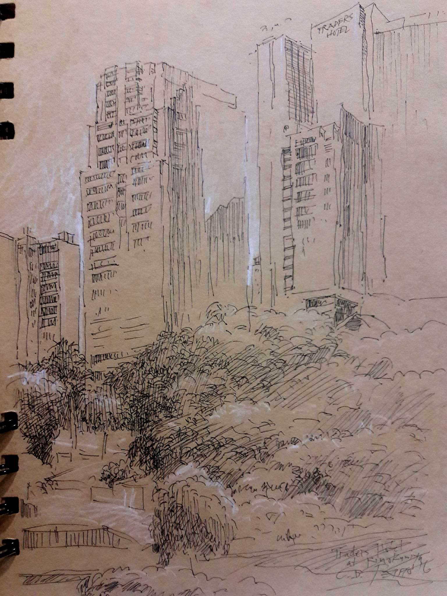 Celso Pepito's sketch of buildings viewed from the Kinokunia Bookstore