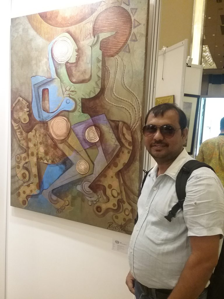 Rajesh and one of his art works for Langkawi Art Biennale 2016