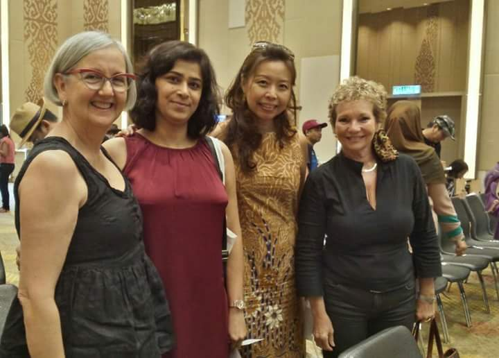 Sunanda  (in red) with other lady artists - Marlene (South Africa), Sherin  (Malaysia ) and Sylvana  (France)